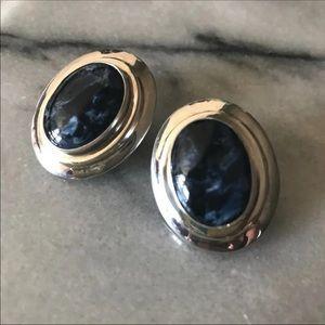 Jay King Black Moonstone DTR signed earrings